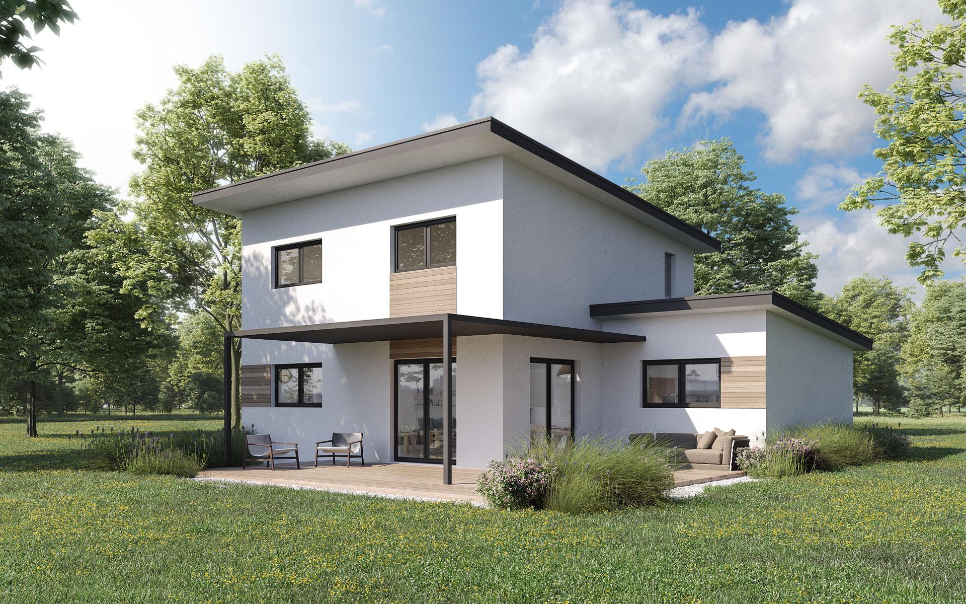 Maison contemporaine ossature bois Alisier par Olry Bois - modèle 3D