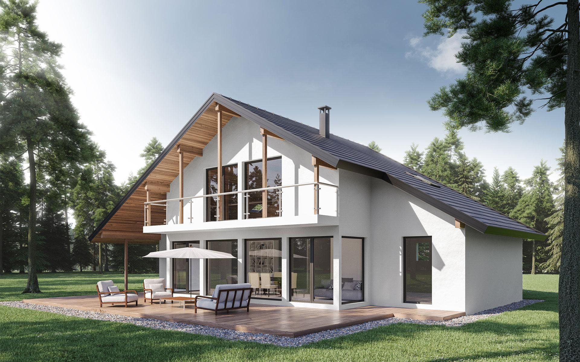 Modèle 3D de maison individuelle en bois - Séquoïa par Olry Bois